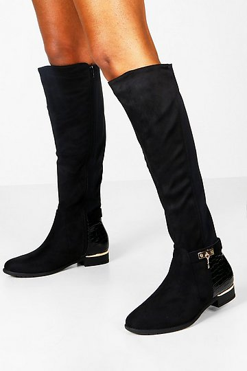 Dormery 35-43 PU//Suede 2 Option Plus Size Point Toe Spring Over The Knee Boots Women Shoes New Long Knee Boots with Metal Heels