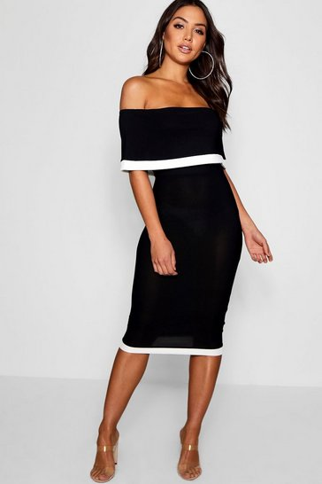 Black Contrast Off the Shoulder Midi Dress