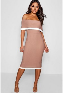 Mocha beige Contrast Off the Shoulder Midi Dress