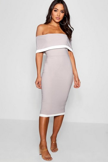 Silver Contrast Off the Shoulder Midi Dress