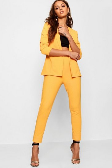 Mustard yellow Crepe Fitted Suit