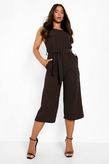Chocolate brown Woven Sleeveless Culotte Jumpsuit