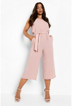Rose pink Woven Sleeveless Culotte Jumpsuit