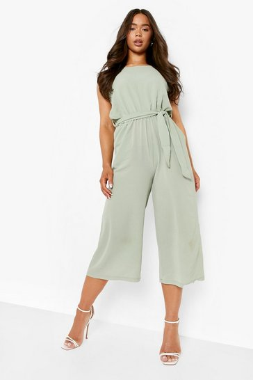 Sage green Woven Sleeveless Culotte Jumpsuit