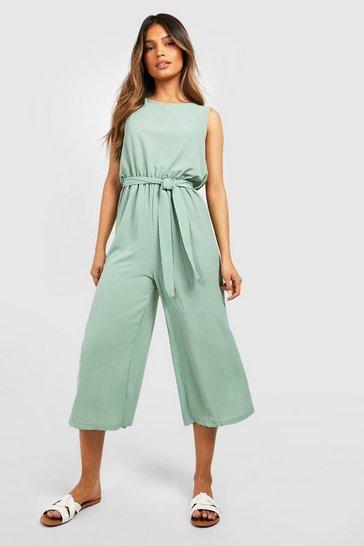 Sage green Woven Sleeveless Culotte Jumpsuit