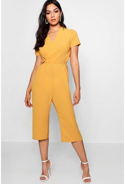 Mustard yellow Plunge Twist Capped Sleeve Jumpsuit