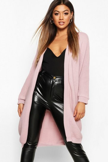 Blush pink Cocoon Oversized Rib Knit Cardigan