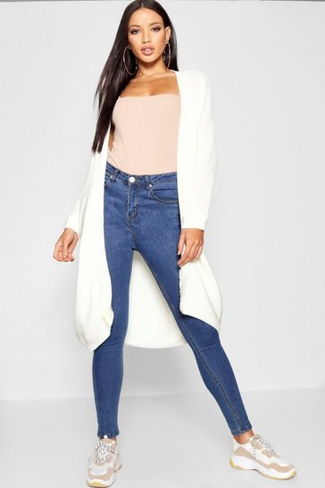 Cream white Cocoon Oversized Rib Knit Cardigan