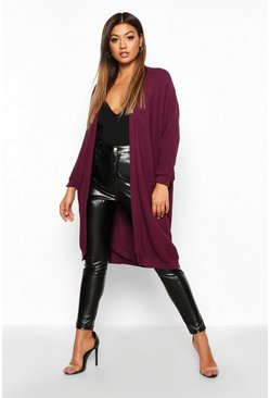 Pruim purple Cocoon Oversized ribgebreid vest