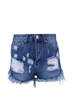 Mid blue Distressed Denim Short