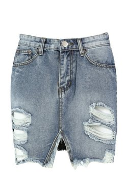 Mid blue Distressed Denim Mini Skirt