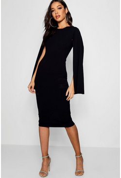 Black Cape Sleeve Bodycon Midi Dress