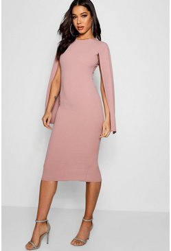 Rose pink Cape Sleeve Bodycon Midi Dress