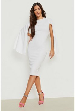 White Cape Sleeve Bodycon Midi Dress