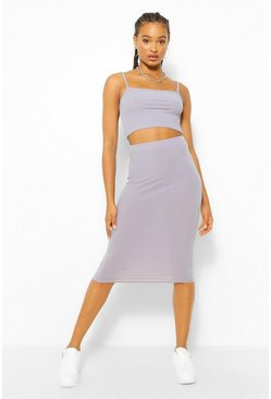 Grey Square Neck Strappy Midi Skirt Co-ord Set