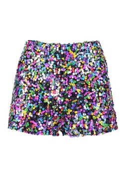 Pink Rainbow Sequin Hot Pant