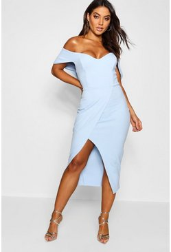 Sky Off the Shoulder Wrap Skirt Midi Dress