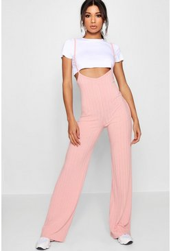 Blush pink Crop T-Shirt Strappy Jumpsuit Two-Piece Set