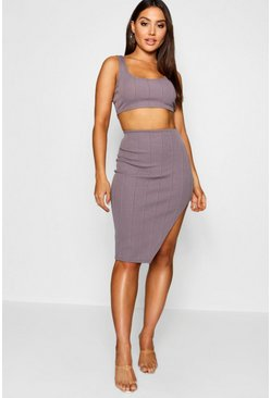 Slate grey Bandage Skirt and Crop Top Co-ord Set