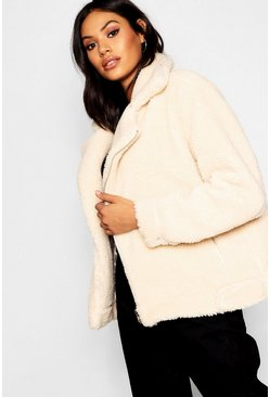Cream white Teddy Faux Fur Aviator