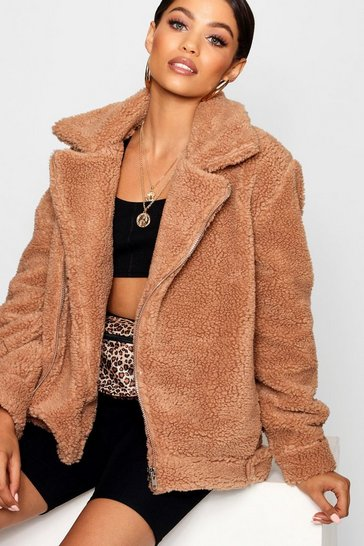 Brown Teddy Faux Fur Aviator
