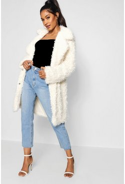 Cream white Shaggy Faux Fur Look Coat