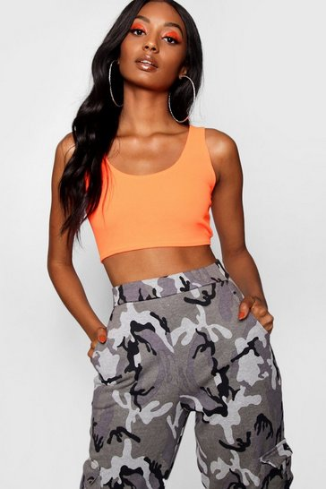 Neon-orange orange Crepe Bralet