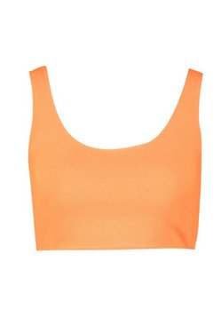 Neon-orange Crepe Bralet