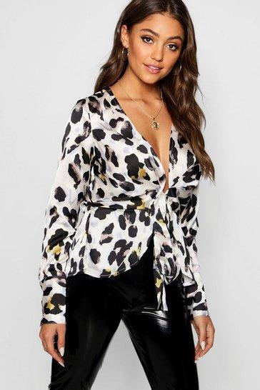 White Leopard Satin Drape Tie Front Top