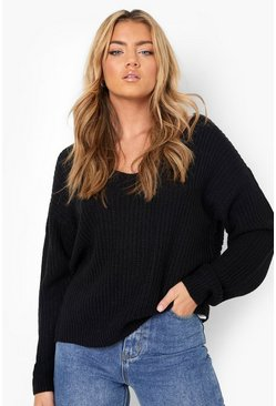 Black Crop Twist Jumper