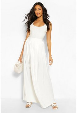 Ivory white Basic Slinky Floor Sweeping Maxi Skirt