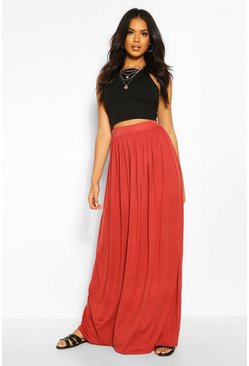 Brick orange Floor Sweeping Jersey Maxi Skirt