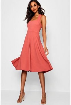 Rose pink Square Neck Midi Skater Dress