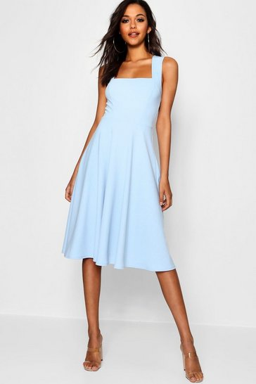 Sky blue Square Neck Midi Skater Dress
