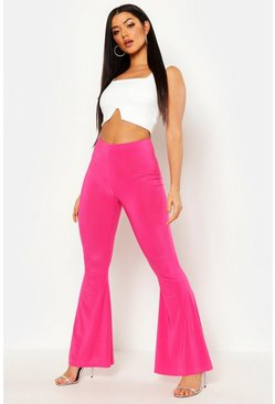 Hot pink High Waist Basic Slinky Skinny Flares
