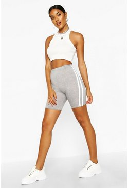 Grey Basic Double Side Stripe Cycling Short
