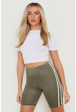 Khaki Basic Double Side Stripe Biker Short