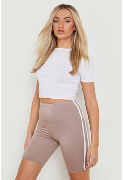 Mocha beige Basic Double Side Stripe Biker Short