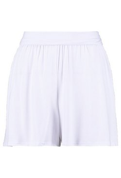 White Basic Solid Colour Flippy Shorts