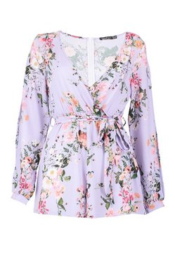 Lilac Split Sleeve Wrap Front Floral Playsuit