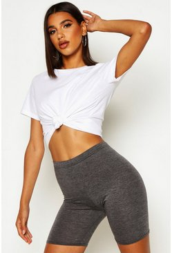 Charcoal grey Basic Solid Colour Cycling Shorts