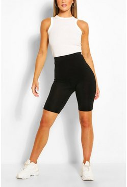 Black Basic Solid Biker Shorts