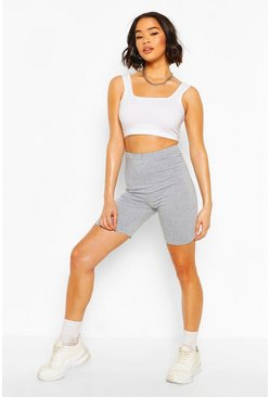 Grey Basic Solid Biker Shorts
