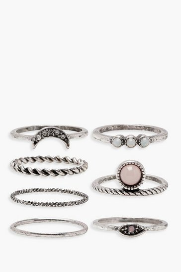 Silver Moon Stone Detail Rings 7 Pack