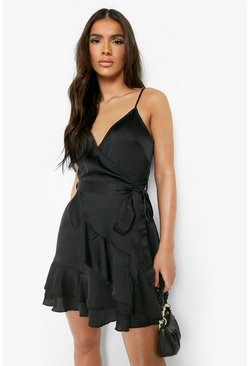 Black Satin Frill Skirt Wrap Skater Dress