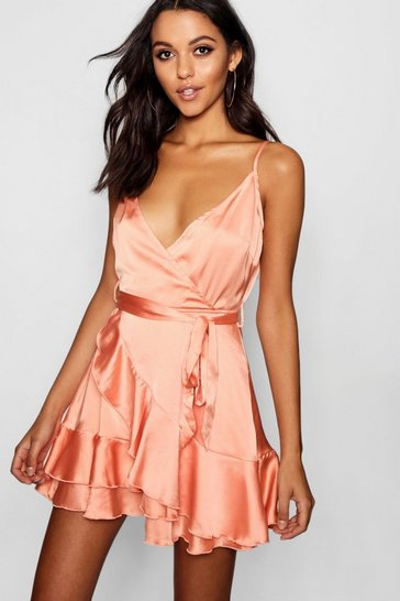 Peach orange Satin Frill Skirt Wrap Skater Dress