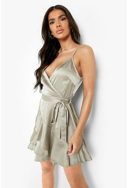 Sage green Satin Frill Skirt Wrap Skater Dress