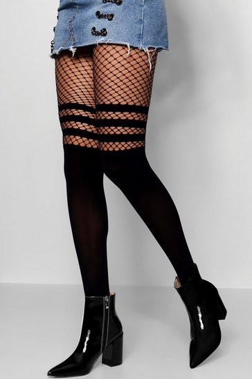 Black Sports Stripe Mock Hold Up Fishnet Tights