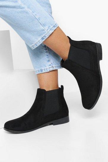 Black Wide Fit Suedette Flat Chelsea Boots