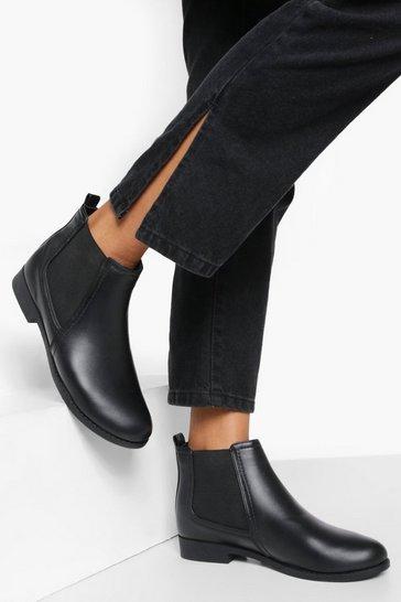 Black Wide Fit Flat Chelsea Boots